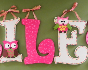 owlthemed set of 5 hand painted letters