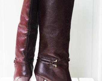 Boots - Maroon High Heel Vintage Size 6 1970s Purple