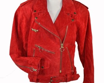 Vintage 80s Red Suede Motorcycle Jacket Grunge Punk Club Kid Zipper Jacket M