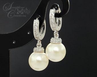 Wedding Earrings Bridal Jewelry Swarovski Pearls Cubic Zirconia Drop Bridesmaid Gift White Ivory/Cream Round Dangle K039
