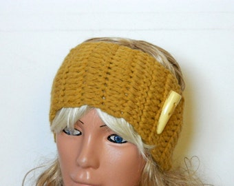 Knitted Headband Mustard Yellow Headband Ear Warmer with Button. Ear Warmer, Head Dress, Winter Fashion, Hair Bands Hair Coverings for Women