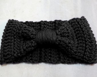 Knotted Head band Knitted Turband Ear Warmer in Black. Ear Warmer, Head Dress, Winter Fashion, Hair Bands Hair Coverings for Women