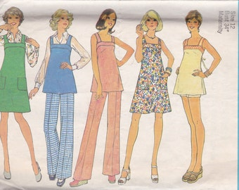 1970s Maternity Dress, Jumper or Tunic & Pants or Shorts Pattern Simplicity 6865 Size 12