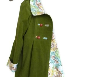 Corduroy Winter Coat, Custom Designed , Women's Warm Outerwear Parka, Shown in Leaf Green, Made in the USA