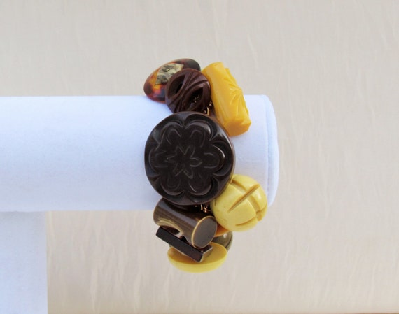 Handmade button bracelet, chunky Art Deco bakelite, celluloid, lucite buttons, earth tones