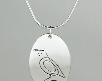 "Calligraphic Quail Pendant, Sterling Silver Oval Disc, 1"" high"