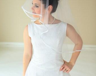 2-tier round veil with satin ribbon, bridal veil