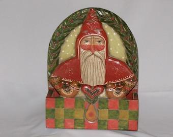 Vintage Christmas Folk Art Greeting Card Box Signed P. Schifferl
