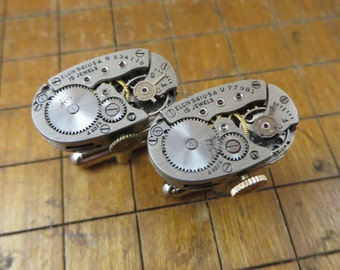 Elgin Watch Movement Cufflinks. Great for Fathers Day, Anniversary, Wedding or Just Because.  #710