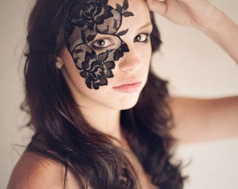 Black lace mask for Masquerade Ball , Mardi Gras , Dance Costume , or Costumed Party - Strapless half face lace mask