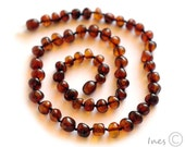 Baltic Amber Adult Necklace Rounded Cherry-Cognac Color Beads