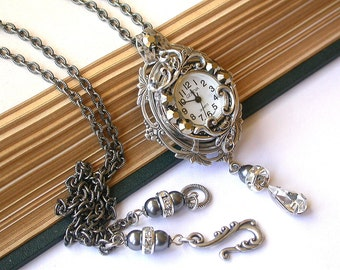 Silver Watch Necklace Romantic Watch Pendant Vintage Style Victorian Watch Necklace Victorian  Bridal Jewelry Victorian Watch Necklace
