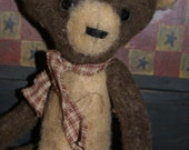 primitive folk art hand stitched bear doll