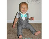 Wedding Baby Suit - Gray Vest Bodysuit and Pants - Choose Bow Tie - Ring Bearer Baptism Graduation Fathers Day - Baby Formal Wear Attire Tux