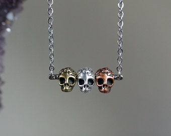 Triple Calavera Necklace - Gold, Copper Silver - Day of the Dead - Sugar Skull