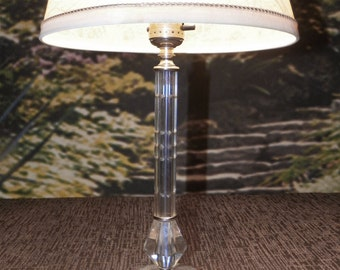 Lamp Small Crystal Candlestick with Cutwork Design and Beveled Base Accent - Chrome Trim - Perfect Condition - Lamp Base Only c1950's