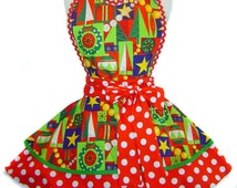 """Exclusive """"Cool Yule"""" Christmas Apron Pinup Diner-Made To Order Only from Tie Me Up Aprons"""