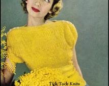 No.291 Women's Golden Bobbles Sweater Knitting Pattern PDF Vintage - Retro Knitting Pattern - Instant Download