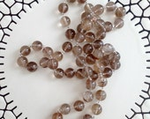 Golden Rutilated Quartz Large Beaded Necklace, Hand Knotted Necklace