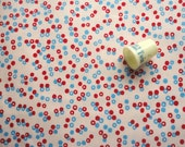 red and blue dots on light pink cotton vintage fabric -- 36 wide by the yard