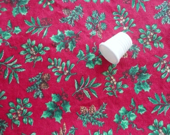 holly on red christmas print vintage cotton fabric -- 44 wide by almost 1 1/2 yards