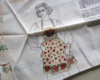 christmas hostess apron vintage cotton craft panel
