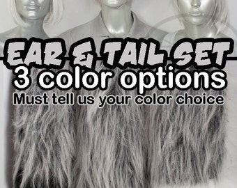 Silver Grey Furry Fox, Wolf Tail and Ears, Cosplay, Accessories, Costume, Highly Customizable