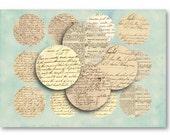 Vintage Handwritten Ephemera 2.5 inch circles - Digital Collage Sheet Download -864- for Jewelry Pendants - Instant Download Printables