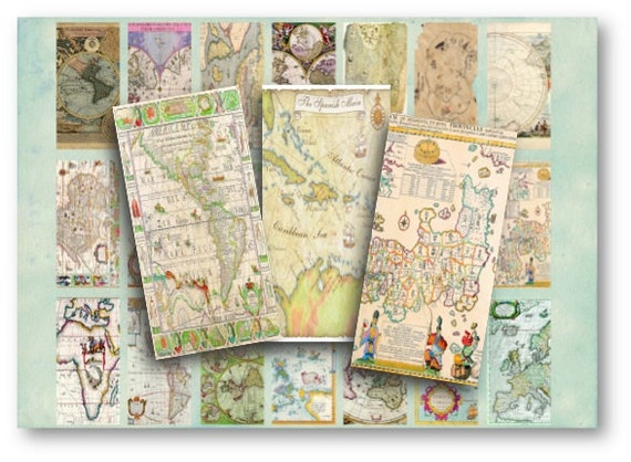 Digital Collage Sheet Download - World Maps 1x2 inch -  423   for Jewelry Pendants - Instant Download Printables