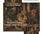 Cross Stitch Patterns Rabbit in the Forest Vintage Art Instant Download  pdf Three Versions of Pattern Included