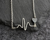 heartbeat - sterling silver necklace perfect gift for a nurse, doctor, vet, medical profession