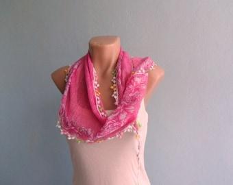 Women Scarf, Pink Scarf, Summer Scarf, Cotton Scarf, Floral Scarf