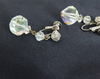 Vintage 1950s Laguna Earrings Faceted Crystal Ball  Signed