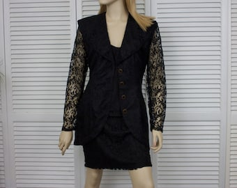 Vintage Black Lace Suit Three Piece Judy Knapp Size Small