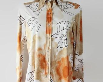 SALE Vera Neumann Blouse / Mod / Novelty Print / Leaves / Orange / Fall Fashion / 1970s / Gift for Her