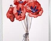 Art Print Flower Print, Watercolor Painting, Giclee Art Print, Archival Art Print - Wild Poppy Bundle