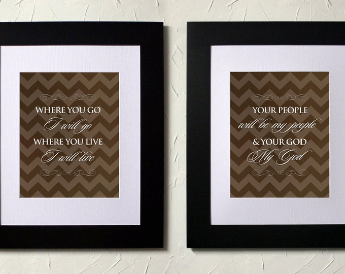 Ruth 1:16-17, LOVE. The book of Ruth, Journey of Faith, movie quote. Where you go i will go. Diptych. Subway Art. Unframed.