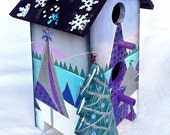 WINTER FANTASY BIRDHOUSE, An Original, One-Of-A-Kind Hand Painted Winter Decorative Birdhouse