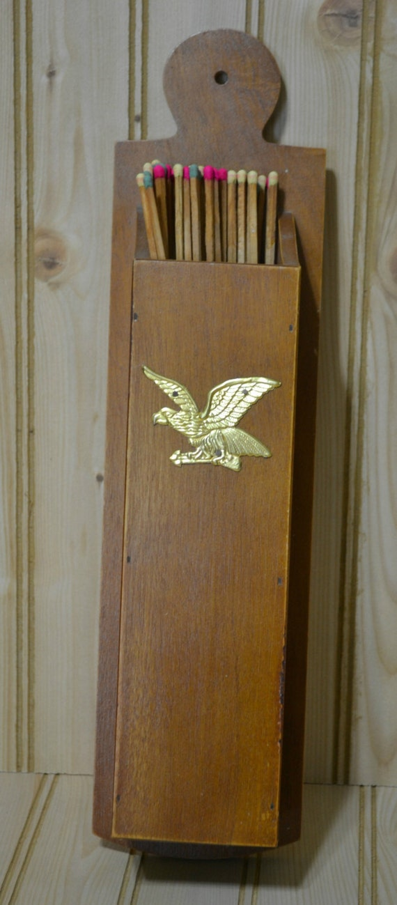 Vintage Wooden Match Holder Eagle Long Fireplace Matches Wall