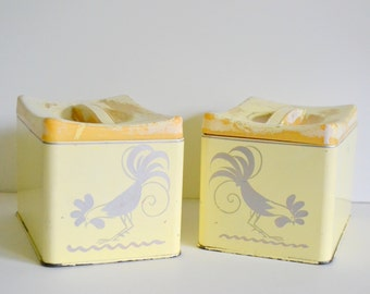 Vintage Rooster Canisters Metal Yellow. Set of 2 w/ lids. Shabby Chic Storage Farm House Kitchen Cottage Tin Matching 60s 1960s  70s 1970s
