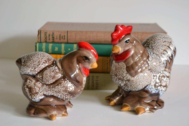 vintage rooster amp hen set ceramic home decor figurines farm