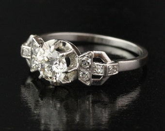 Art Deco French .78 Carat IF Diamond Engagement Ring in Platinum