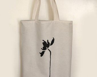 Casual and elegant tote bag - flower silkscreen on cotton bag - Drawing from original fine art