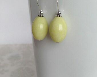 Periodot Jasper and Sterling Silver Earrings