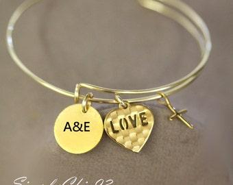Custom Initial- adjustable bangle , Perosnilized, Gold Cross, Initial Bracelet, Initial, Gold Bangle Bracelet, Monogram,Love, Heart charm