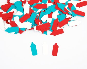 Bottle Confetti, Baby Shower Decoration, Red Turquoise Baby Shower Confetti