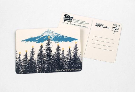 Holiday Oregon Themed Postcards - Mt. Hood Lit Forest - Single or Set