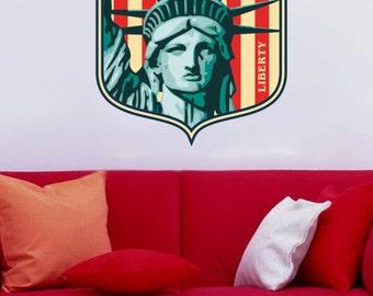 Symbol of Liberty Landmark - Vinyl Wall Decal Full Color Sticker Decor Removable Art Mural www.uBerDecals.ca B245