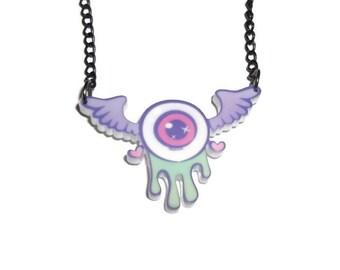 Winged Eyeball Necklace, Creepy Cute Pastel Goth, Kawaii Pendant, Perspex Laser Cut, Drippy