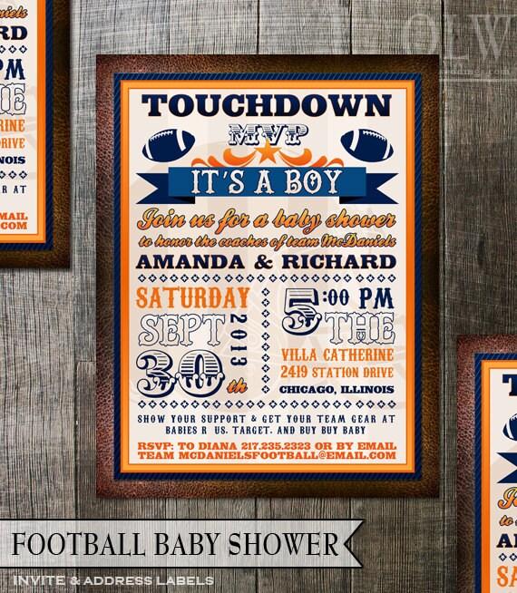 football baby shower invitation any team colors any team logo 5x7